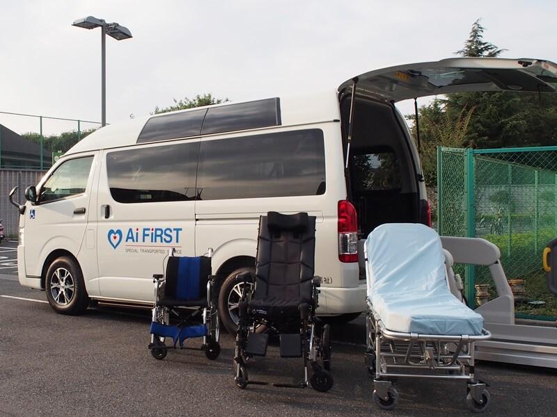 介護車両と車いす、リクライニング車いす、ストレッチャー